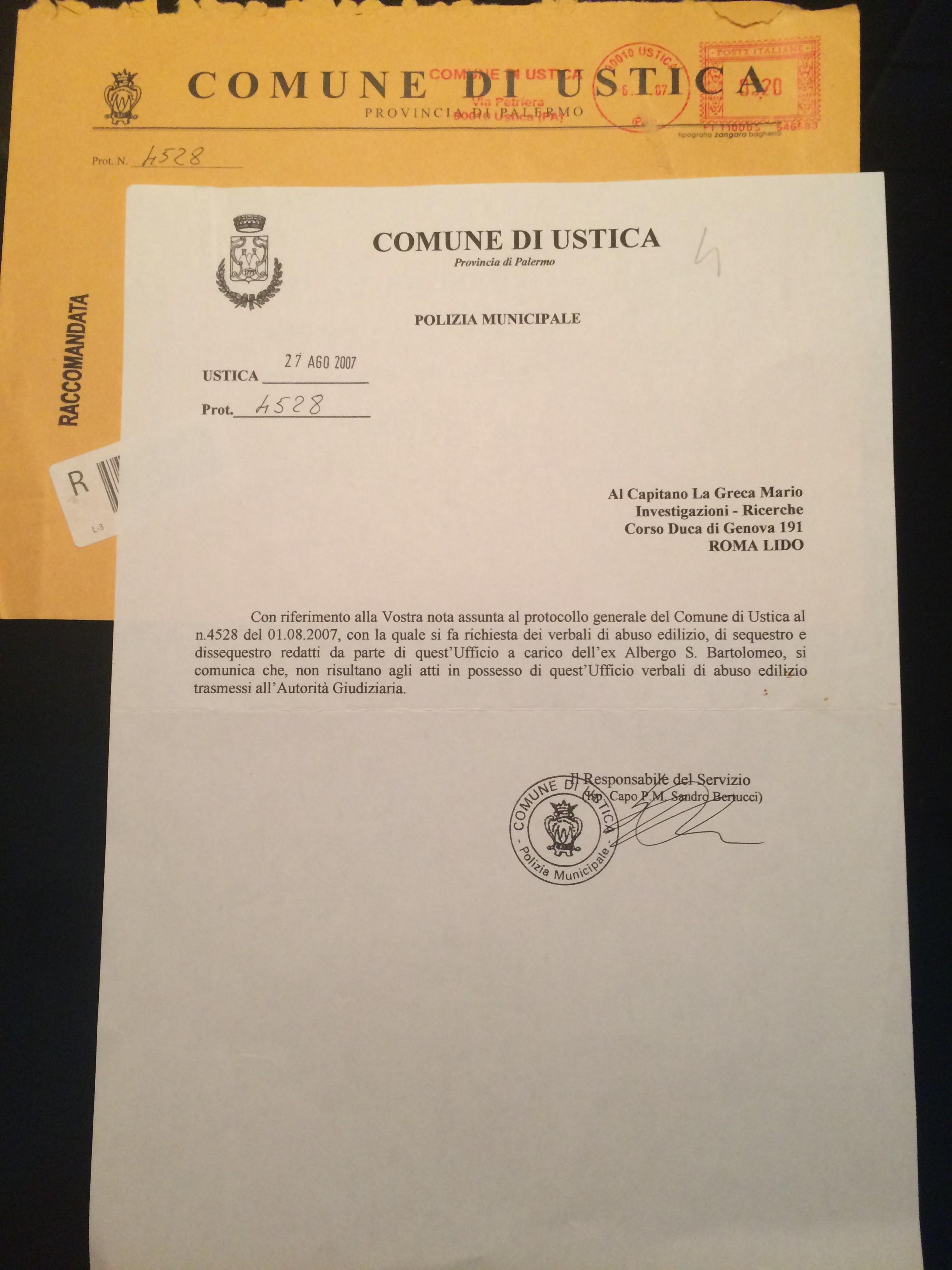 Documento della Polizia Municipale di Ustica Prot. 4528 del 27 agosto 2007