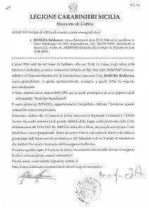Dichiarazone depositata di persona dal Sig. Bonura al Comandante della legione Carabinieri di Ustica in data 6 febbraio 2016