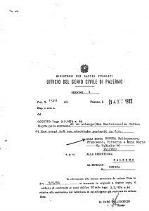 Certificato di conformita' Genio-Civile-14 giugno 1983-trasmesso al sindaco del comune di Ustica e alla Prefettura