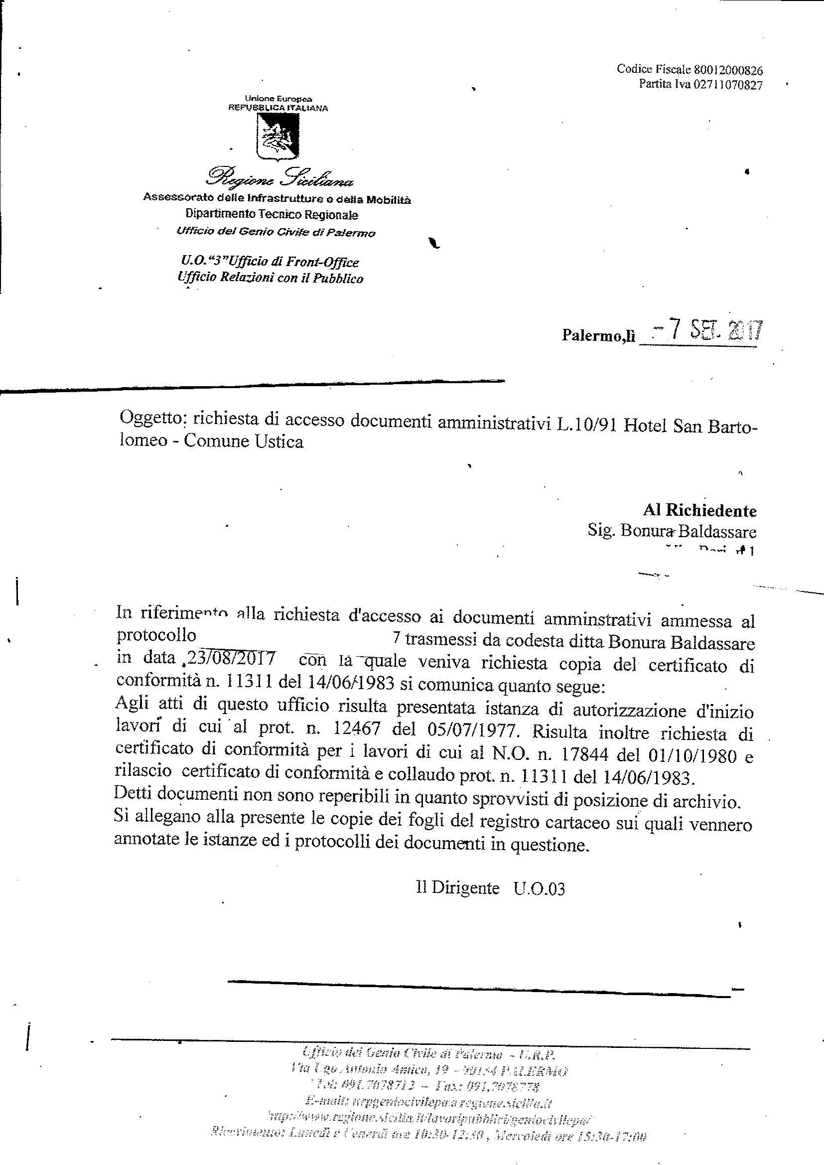 Genio Civile -Accesso Atti- Hotel San Bartolomeo Ustica - Rilascio Conformita' e Collaudo 14 giugno 1983
