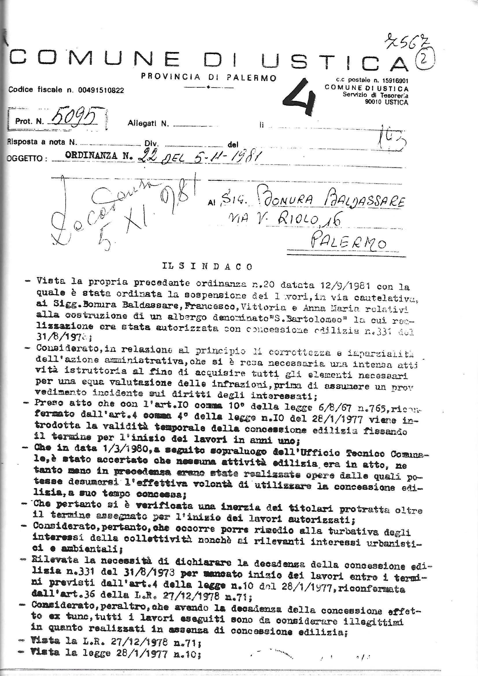 Ordinanza demolizione sindaco Ailara Vito 5/novembre/1981
