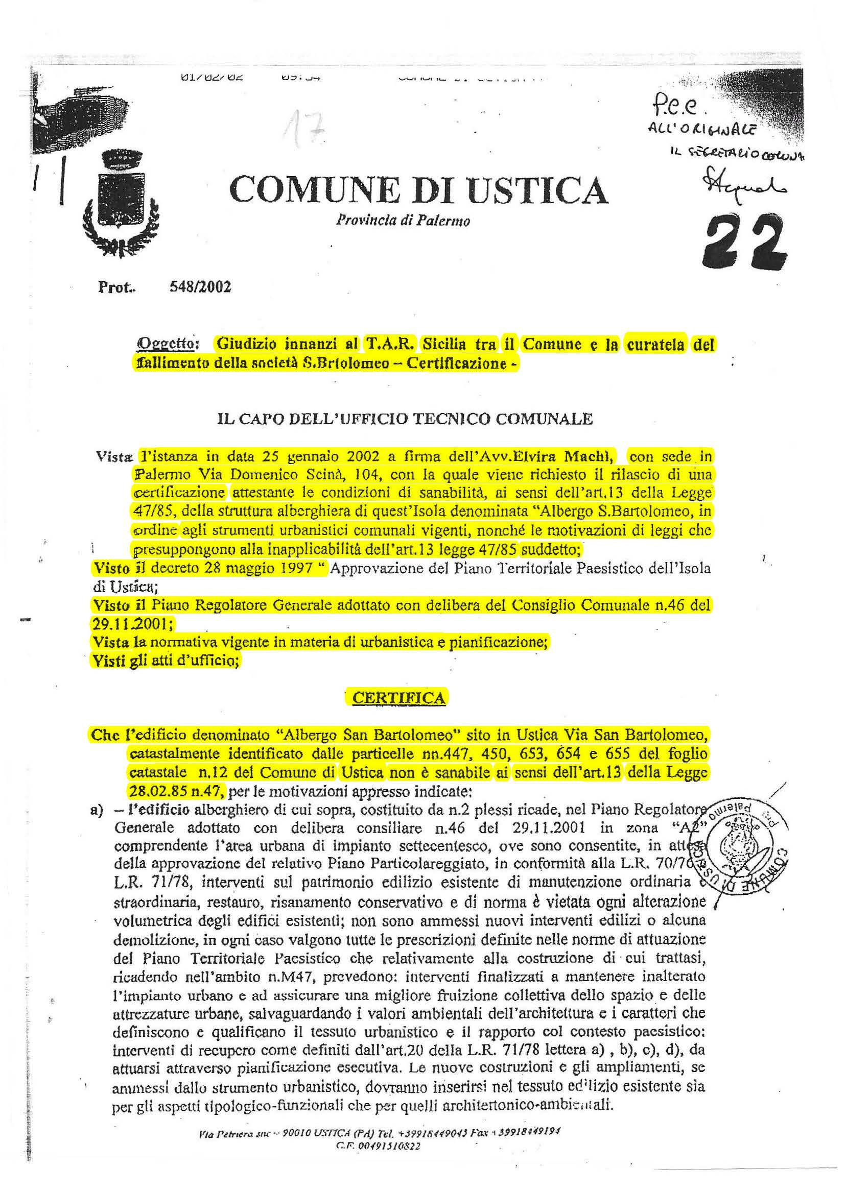 Certificazione Hotel San Bartolomeo UTC del Comune 2002 uso legale per T.A.R.
