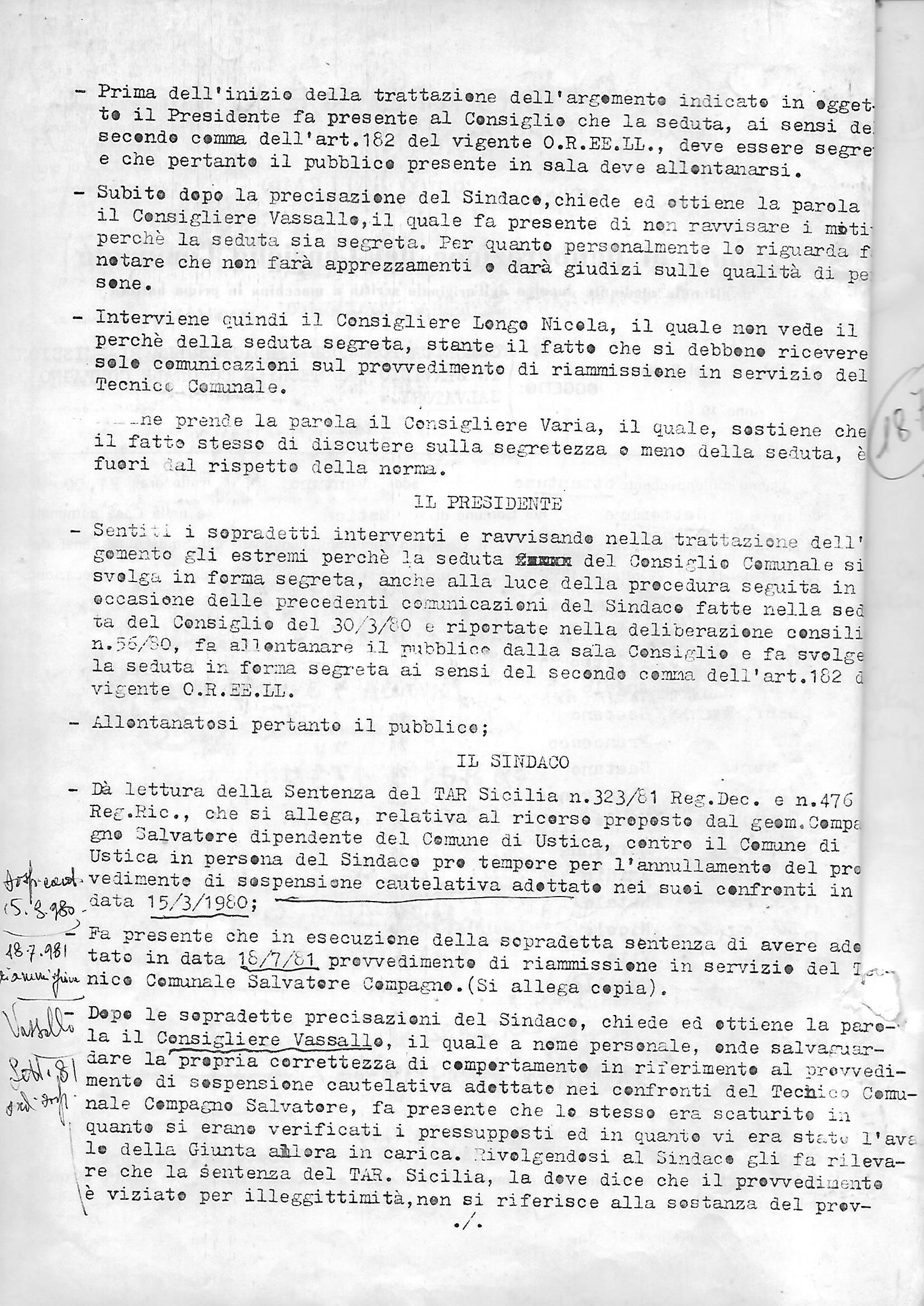 Pagine da Delibera Consiglio Comunale 27 settembre 1981