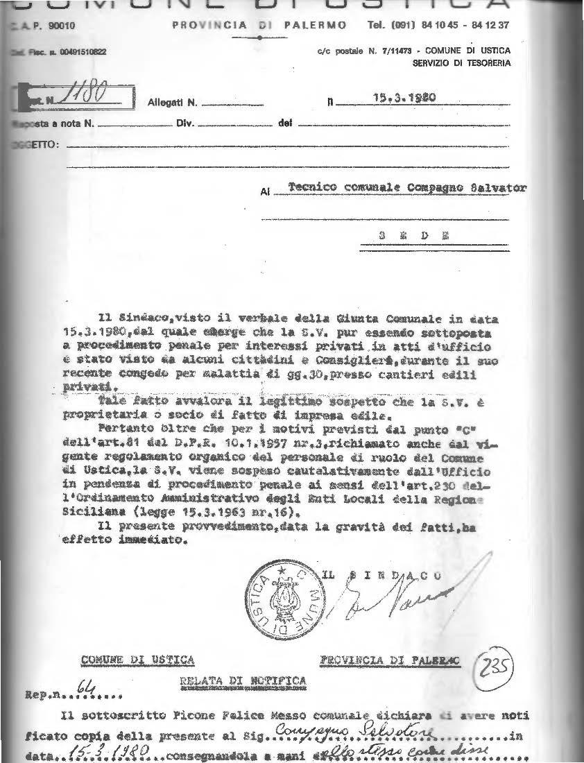 Protocollo sospensione tecnico Compagno Salvatore 15 marzo 1981