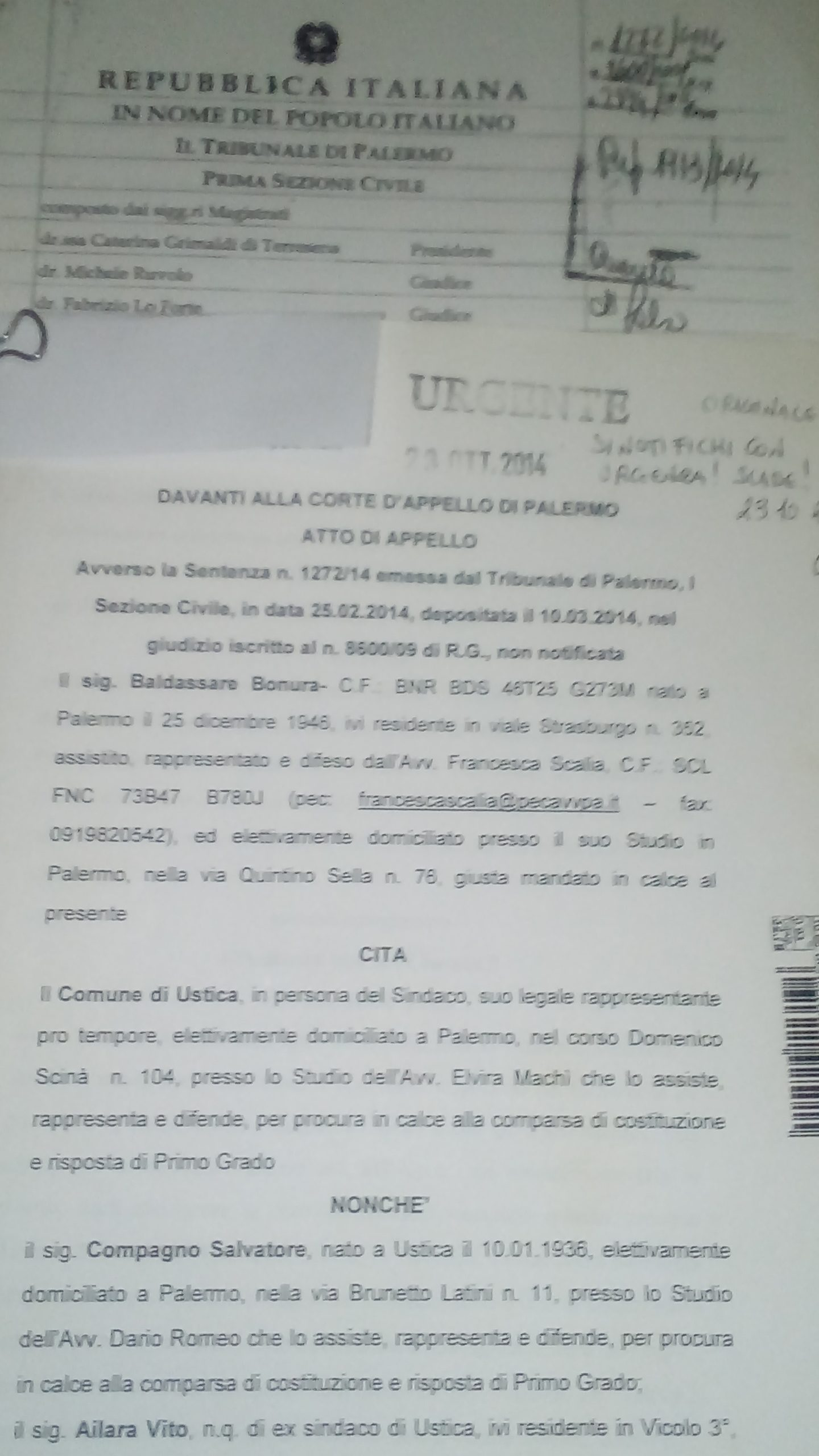 Notifica appello contro sentenza di primo grado n.1272/2014 querela di falso in via principale